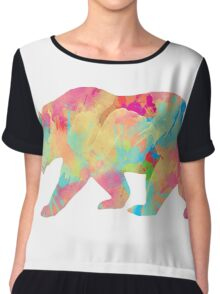 Abstract Bear Chiffon Top