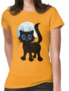 Black Halloween Kitten Womens Fitted T-Shirt