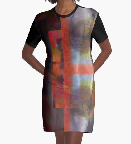 Red on Amethyst and Opal Graphic T-Shirt Dress
