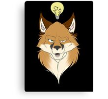 Fox Face Black Canvas Print