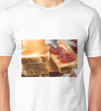 Toasted slices of bread with strawberry jam close-up Unisex T-Shirt
