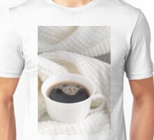 White cup with hot coffee wrapped in a white woolen scarf Unisex T-Shirt