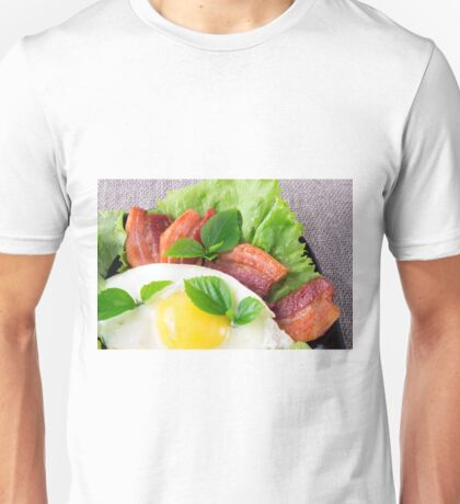 Yolk, fried bacon, herbs and lettuce close-up Unisex T-Shirt