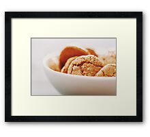 Italian Amaretti Biscuits In White Bowl Framed Print