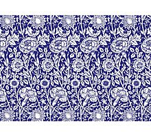 William Morris Carnations | Navy Blue and White Floral Pattern Photographic Print