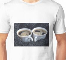 Two white cups with black coffee and foam Unisex T-Shirt