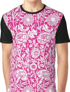 William Morris Carnations | Hot Pink and White Floral Pattern Graphic T-Shirt