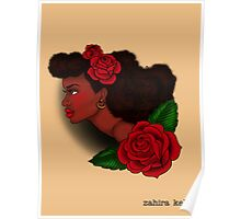Afro Lady Head Tattoo Poster