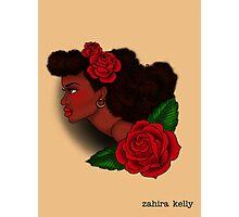 Afro Lady Head Tattoo Photographic Print