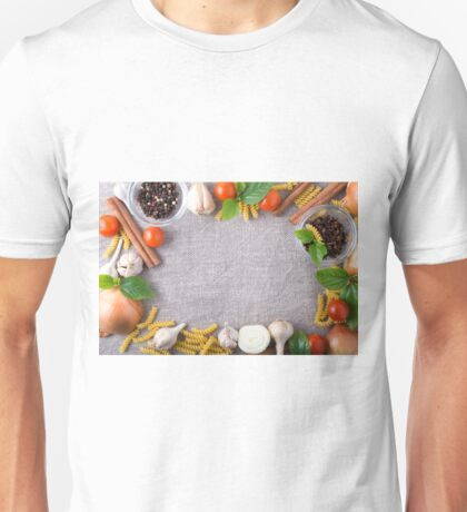 Top view of the ingredients for a meal in the kitchen Unisex T-Shirt