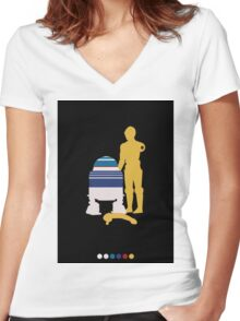 Androids (Black Background) Women's Fitted V-Neck T-Shirt