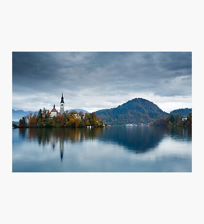 Autumn colours at Lake Bled Photographic Print