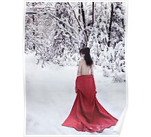 Woman in red kimono lowered down to her waist walking away in snow art photo print Poster