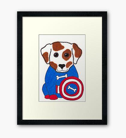 Puppy Dog America - Animal Superhero Framed Print