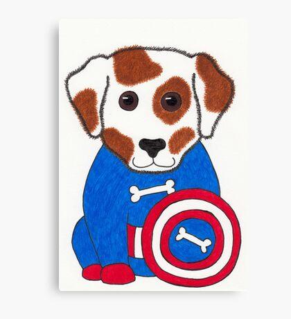 Puppy Dog America - Animal Superhero Canvas Print