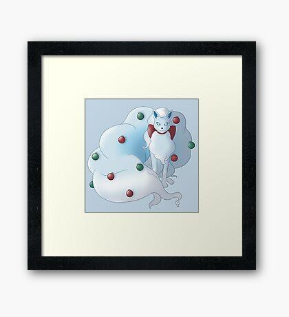 Christmas Snow Kitsune Framed Print