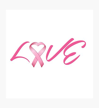Love Pink Breast Cancer Ribbon Photographic Print