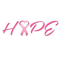 Hope Pink Cancer Awareness Ribbon by Lottle