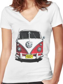 IF THE VAN IS A ROCKIN...  Women's Fitted V-Neck T-Shirt