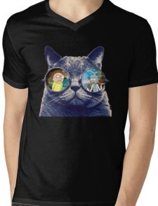 Rick and Morty Cat Mens V-Neck T-Shirt