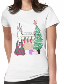 Unicorn Christmas Tree Cocoa Snuggle Blanket Stockings Festive Cute Fun Illustration Hand Drawn Holiday Weird Funny Cool Womens Fitted T-Shirt