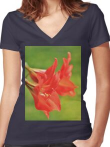 Red Flower Romance - Vibrant Beauty Women's Fitted V-Neck T-Shirt