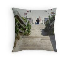 Stepping down to the beach Throw Pillow