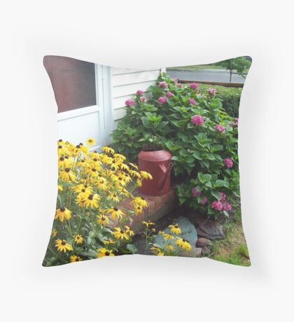 Flowers by the door Throw Pillow