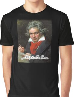 Ludwig van Beethoven, German composer and pianist. Portrait, on Black Graphic T-Shirt