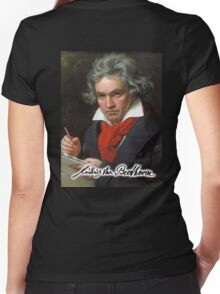 Ludwig van Beethoven, German composer and pianist. Portrait, on Black Women's Fitted V-Neck T-Shirt