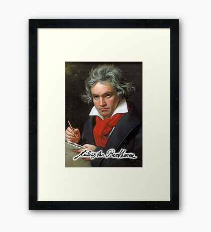 Ludwig van Beethoven, German composer and pianist. Portrait, on Black Framed Print