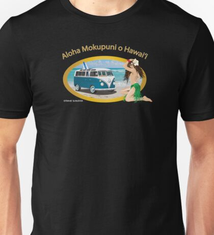 Bus In Hawaii on Beach with Hula Girl Unisex T-Shirt