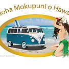Bus In Hawaii on Beach with Hula Girl by Frank Schuster