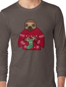 Harvey the Festive Knitting Sloth Long Sleeve T-Shirt