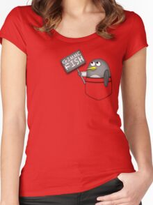 Pocket penguin wants fish Women's Fitted Scoop T-Shirt