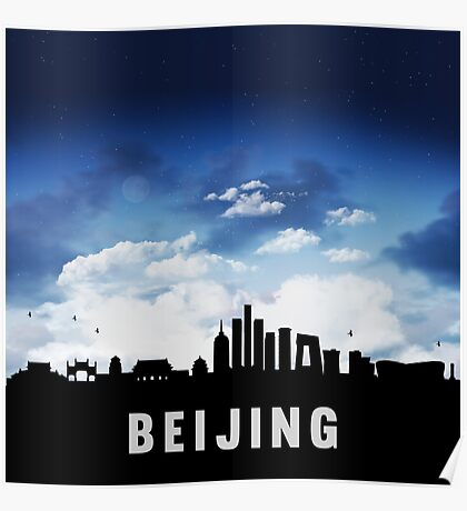 Beijing China Skyline Cityscape at Nightfall Poster