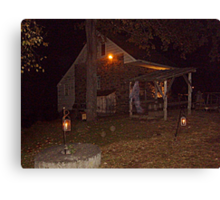 Ghostly Apparition Outside Stone Cottage, Sleepy Hollow NY Canvas Print