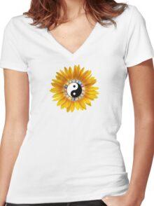 Yin Yang Yellow Sunflower Women's Fitted V-Neck T-Shirt