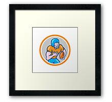 American Football Receiver Running Ball Circle Shield Framed Print