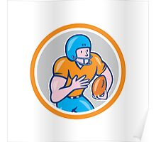 American Football Receiver Running Ball Circle Shield Poster