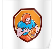 American Football Receiver Running Ball Shield Poster