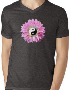 Yin Yang Pink Dahlia Flower Mens V-Neck T-Shirt