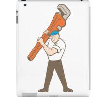 Plumber Carrying Monkey Wrench Cartoon iPad Case/Skin