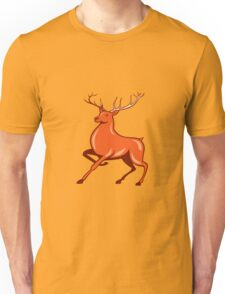 Red Stag Deer Side Marching Cartoon Unisex T-Shirt