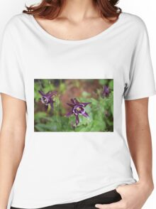 Purple and White Flowers Women's Relaxed Fit T-Shirt