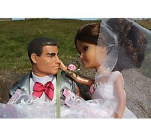 Barbie and Action man on Wedding day Photographic Print