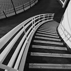 Worthing Pier's stairs - Black and White by Kevin  Poulton