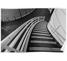 Worthing Pier's stairs - Black and White Poster