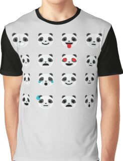 Emoji Panda Different Facial Expression Graphic T-Shirt