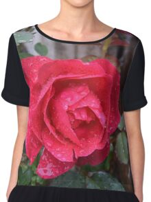 Rose with Water Droplets Chiffon Top